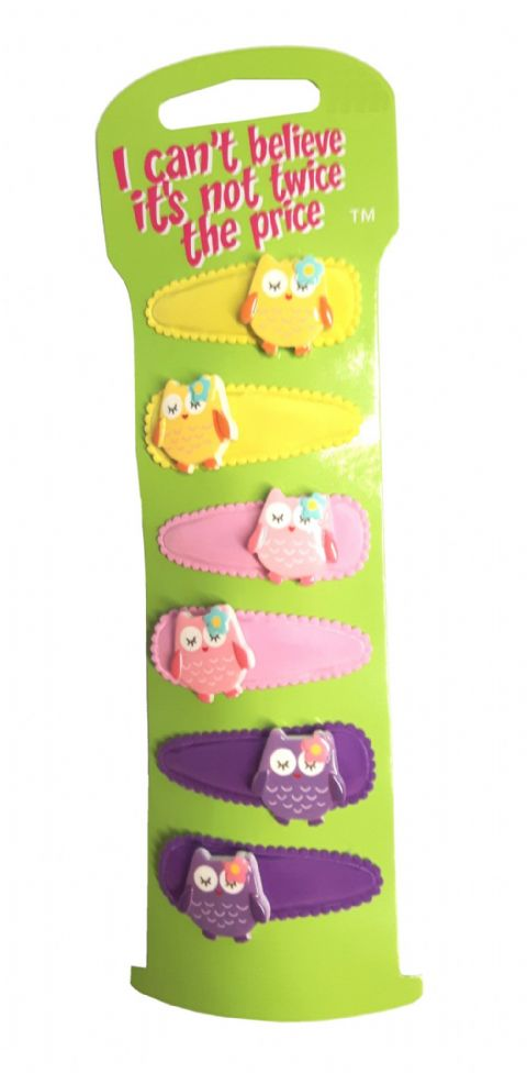 6 Bright Owl Charm Sleepin Snap on in Hair Clips